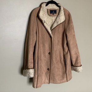 London Fog tan faux suede and shearling coat